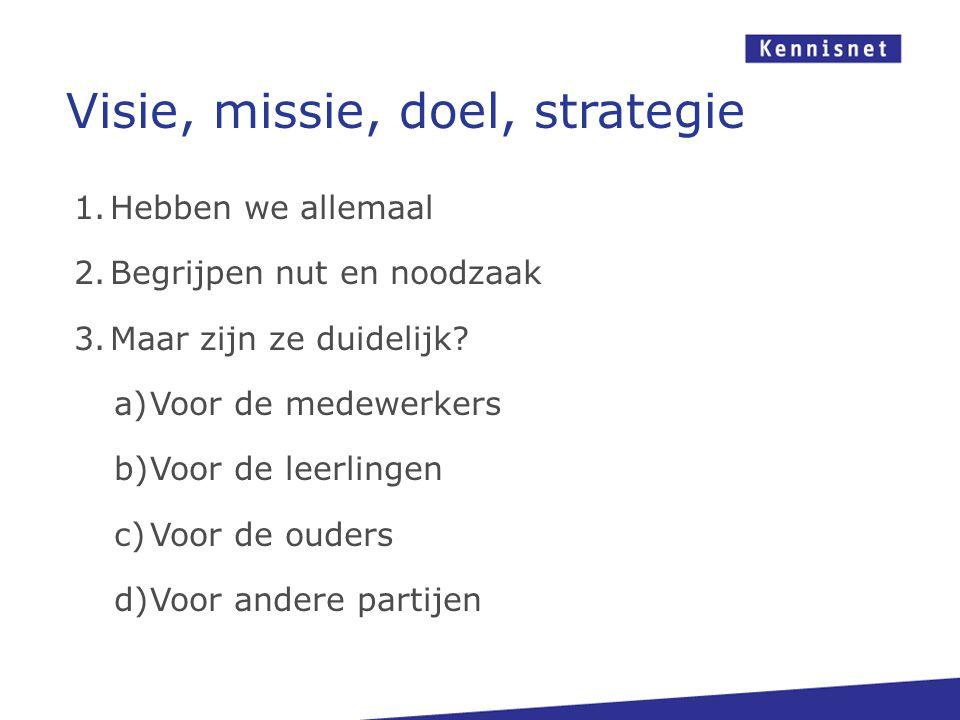 Visie, missie, doel, strategie 1.Hebben we allemaal 2.Begrijpen nut en noodzaak 3.Maar zijn ze duidelijk? a)Voor de medewerkers b)Voor de leerlingen c