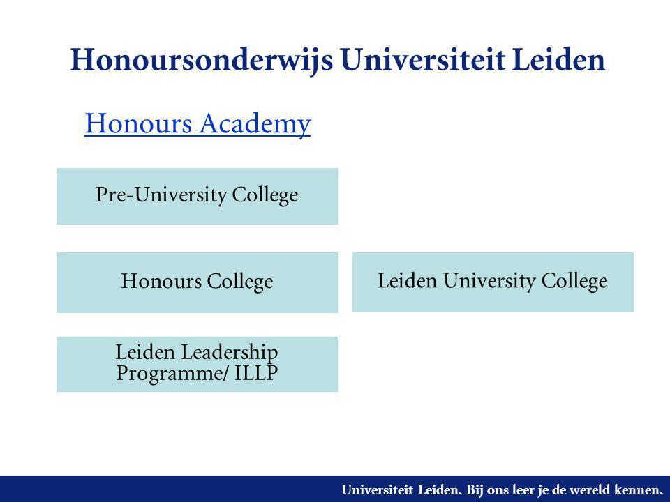 Universiteit Leiden. Bij ons leer je de wereld kennen. Honoursonderwijs Universiteit Leiden Pre-University College Leiden Leadership Programme/ ILLP H
