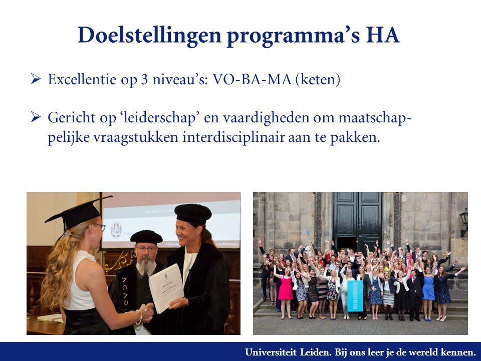 Universiteit Leiden. Bij ons leer je de wereld kennen. Doelstellingen programma's HA  Excellentie op 3 niveau's: VO-BA-MA (keten)  Gericht op 'leide