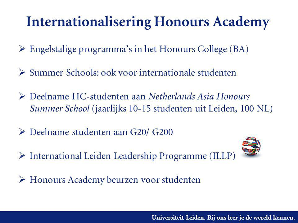 Universiteit Leiden. Bij ons leer je de wereld kennen. Internationalisering Honours Academy  Engelstalige programma's in het Honours College (BA)  S