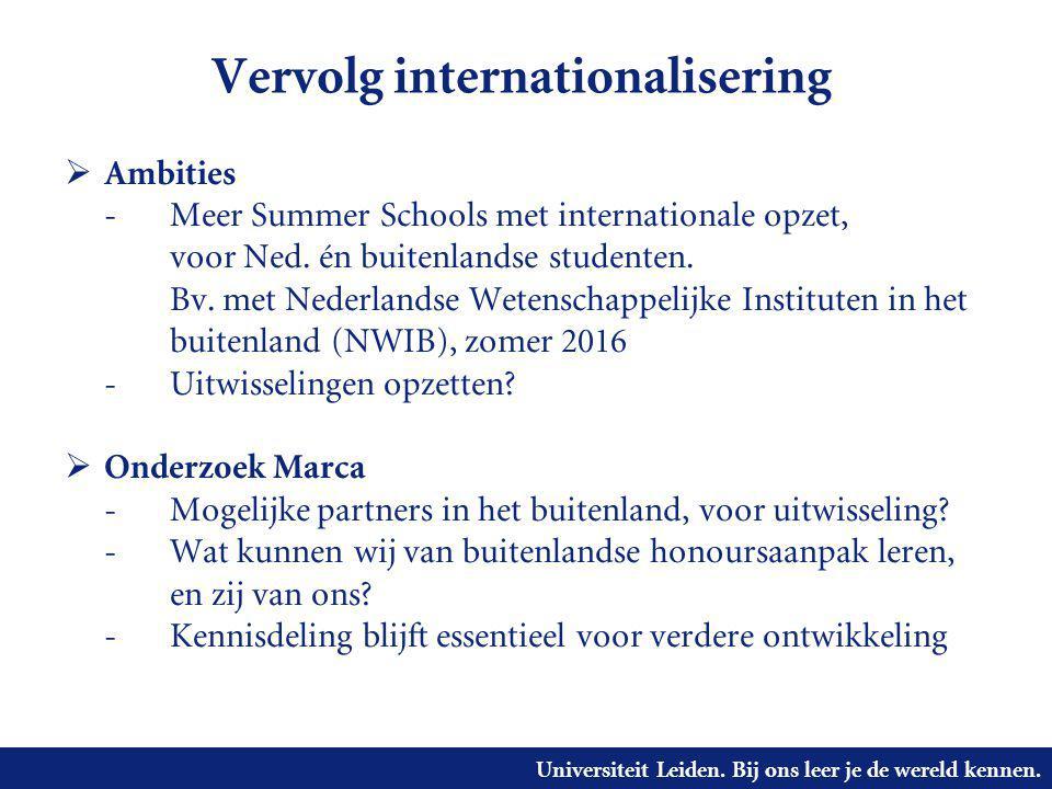 Universiteit Leiden. Bij ons leer je de wereld kennen. Vervolg internationalisering  Ambities - Meer Summer Schools met internationale opzet, voor Ne