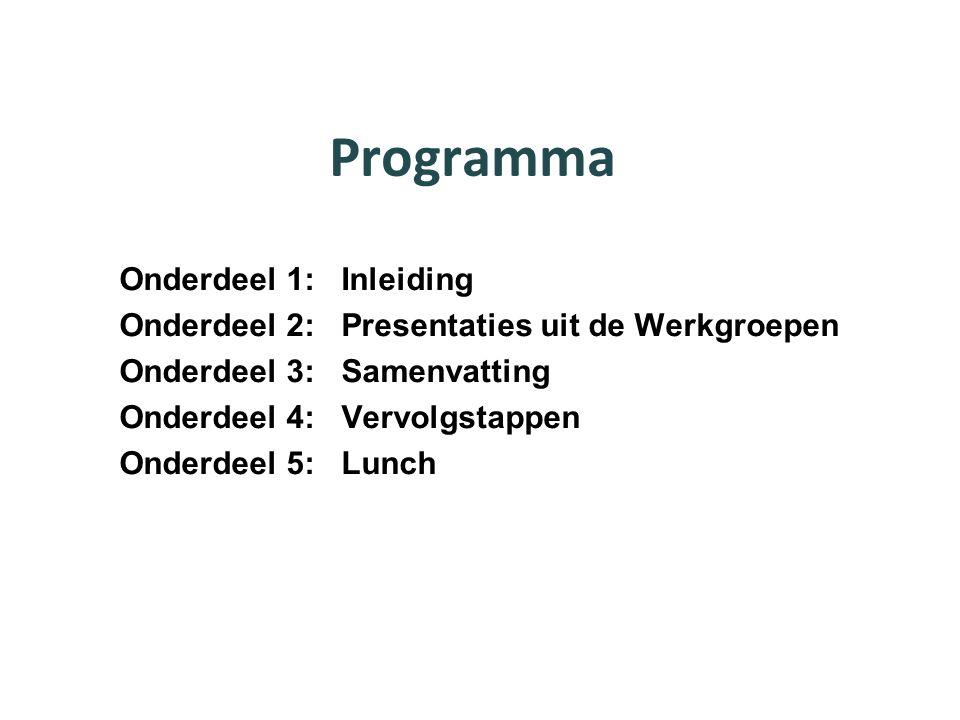Programma Onderdeel 1: Inleiding Onderdeel 2: Presentaties uit de Werkgroepen Onderdeel 3: Samenvatting Onderdeel 4: Vervolgstappen Onderdeel 5: Lunch