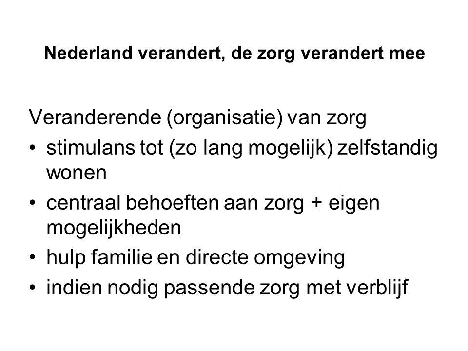 Nederland verandert, de zorg verandert mee Veranderende (organisatie) van zorg stimulans tot (zo lang mogelijk) zelfstandig wonen centraal behoeften aan zorg + eigen mogelijkheden hulp familie en directe omgeving indien nodig passende zorg met verblijf
