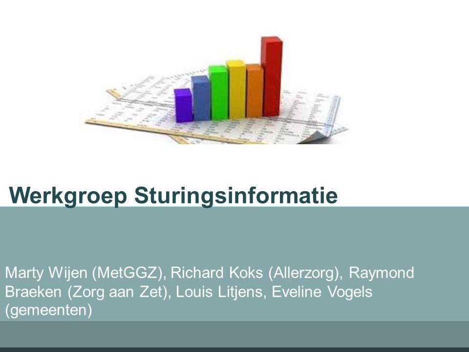 Werkgroep Sturingsinformatie Marty Wijen (MetGGZ), Richard Koks (Allerzorg), Raymond Braeken (Zorg aan Zet), Louis Litjens, Eveline Vogels (gemeenten)