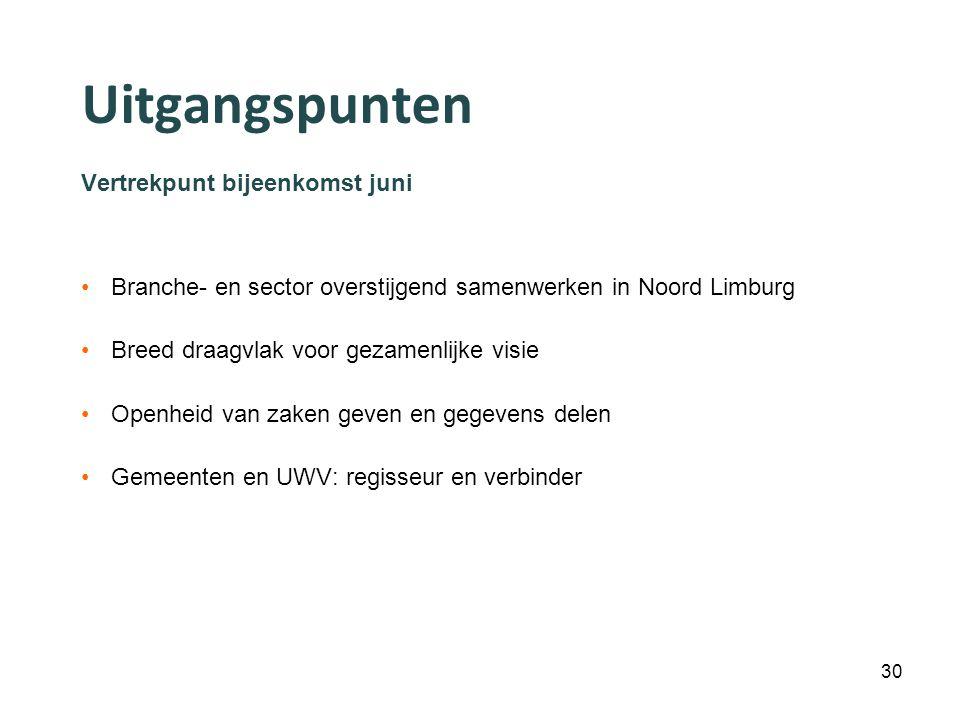 Uitgangspunten Vertrekpunt bijeenkomst juni Branche- en sector overstijgend samenwerken in Noord Limburg Breed draagvlak voor gezamenlijke visie Openheid van zaken geven en gegevens delen Gemeenten en UWV: regisseur en verbinder 30