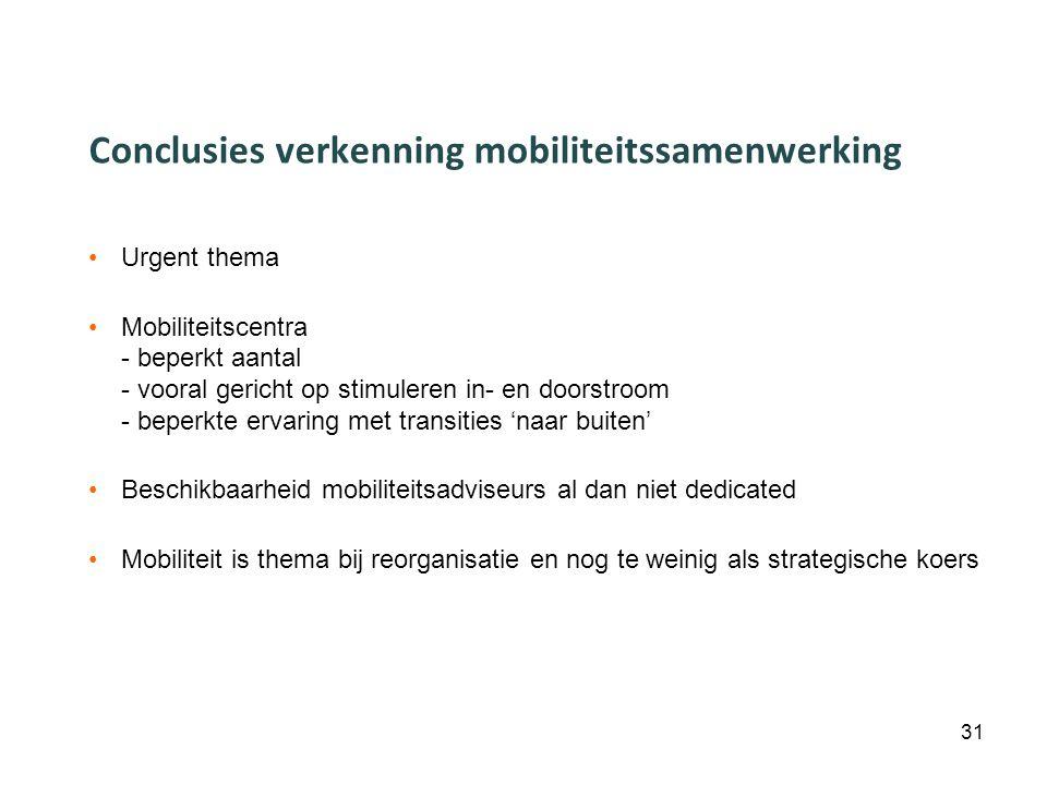 Conclusies verkenning mobiliteitssamenwerking Urgent thema Mobiliteitscentra - beperkt aantal - vooral gericht op stimuleren in- en doorstroom - beperkte ervaring met transities 'naar buiten' Beschikbaarheid mobiliteitsadviseurs al dan niet dedicated Mobiliteit is thema bij reorganisatie en nog te weinig als strategische koers 31