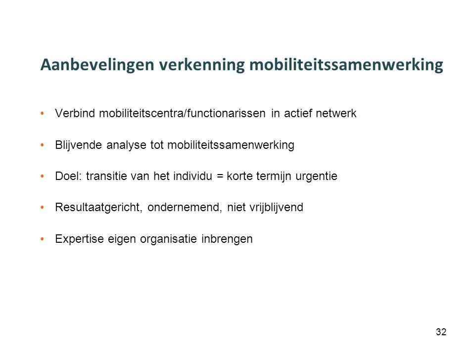 Aanbevelingen verkenning mobiliteitssamenwerking Verbind mobiliteitscentra/functionarissen in actief netwerk Blijvende analyse tot mobiliteitssamenwerking Doel: transitie van het individu = korte termijn urgentie Resultaatgericht, ondernemend, niet vrijblijvend Expertise eigen organisatie inbrengen 32