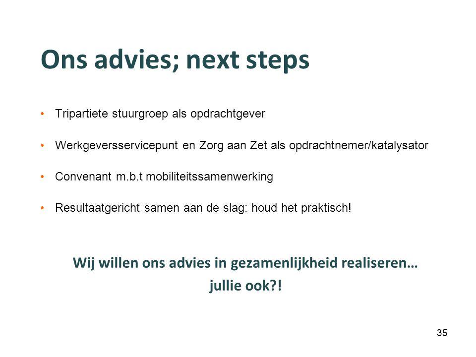Ons advies; next steps Tripartiete stuurgroep als opdrachtgever Werkgeversservicepunt en Zorg aan Zet als opdrachtnemer/katalysator Convenant m.b.t mo