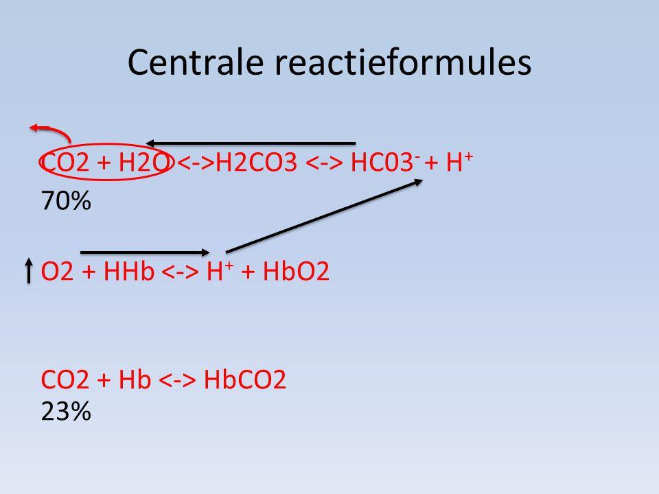 Centrale reactieformules CO2 + H2O H2CO3 HC03 - + H + 70% O2 + HHb H + + HbO2 CO2 + Hb HbCO2 23%