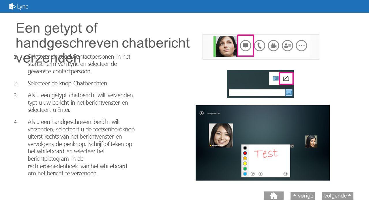 volgende vorige Een getypt of handgeschreven chatbericht verzenden 1. Selecteer de tegel Contactpersonen in het startscherm van Lync en selecteer de g