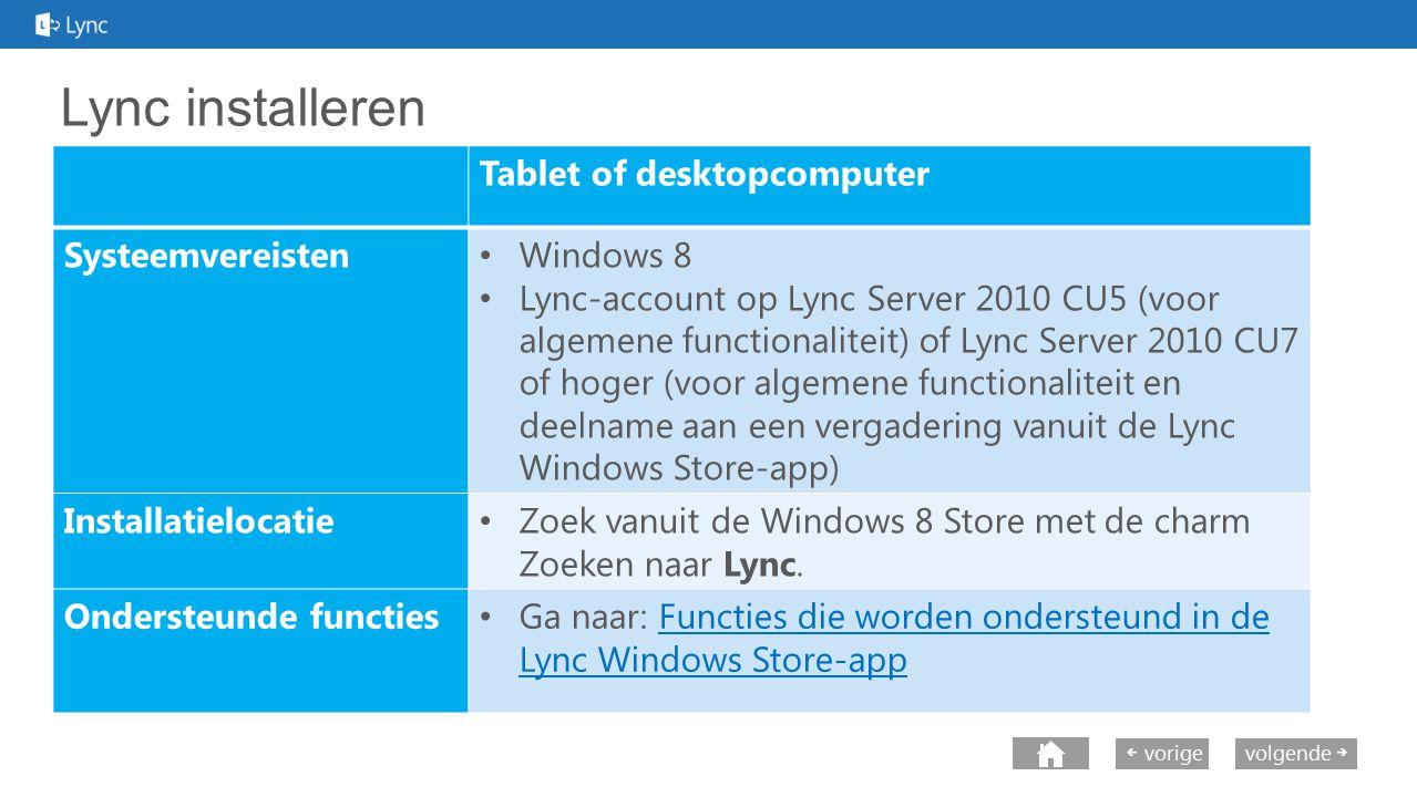 next volgende vorige Lync installeren Tablet of desktopcomputer Systeemvereisten Windows 8 Lync-account op Lync Server 2010 CU5 (voor algemene functio