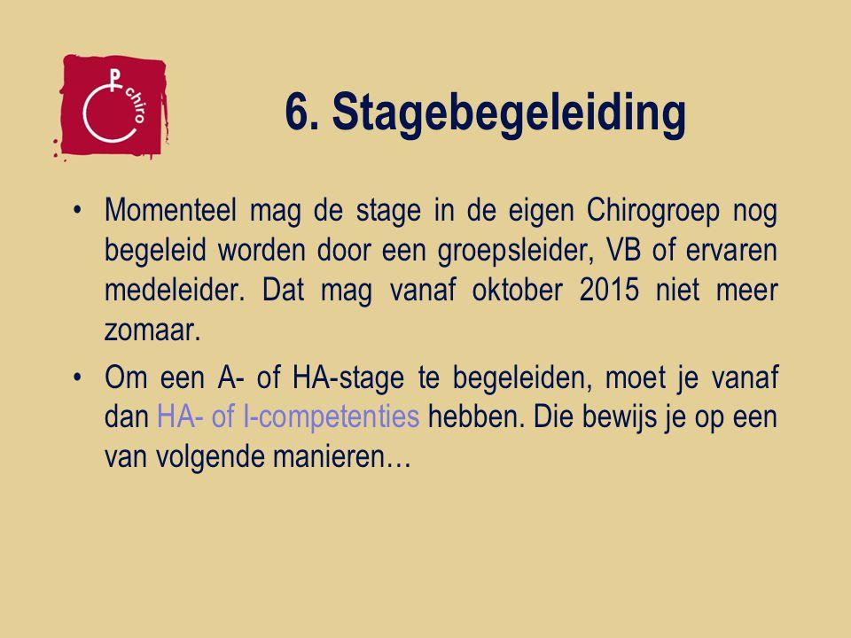 6. Stagebegeleiding Momenteel mag de stage in de eigen Chirogroep nog begeleid worden door een groepsleider, VB of ervaren medeleider. Dat mag vanaf o