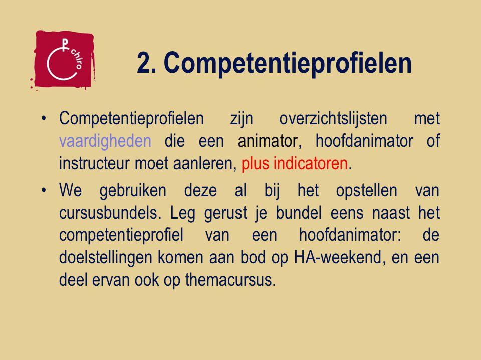2. Competentieprofielen Competentieprofielen zijn overzichtslijsten met vaardigheden die een animator, hoofdanimator of instructeur moet aanleren, plu