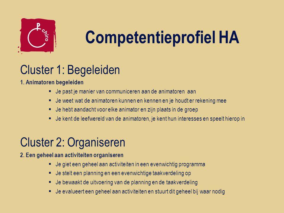 Competentieprofiel HA Cluster 1: Begeleiden 1. Animatoren begeleiden  Je past je manier van communiceren aan de animatoren aan  Je weet wat de anima