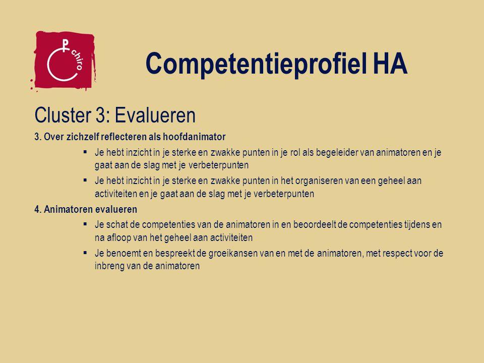 Competentieprofiel HA Cluster 3: Evalueren 3. Over zichzelf reflecteren als hoofdanimator  Je hebt inzicht in je sterke en zwakke punten in je rol al