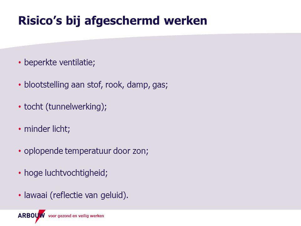 voor gezond en veilig werken beperkte ventilatie; blootstelling aan stof, rook, damp, gas; tocht (tunnelwerking); minder licht; oplopende temperatuur