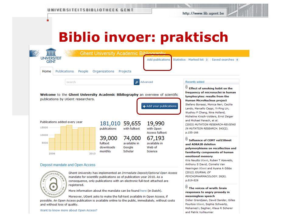 Biblio invoer: praktisch