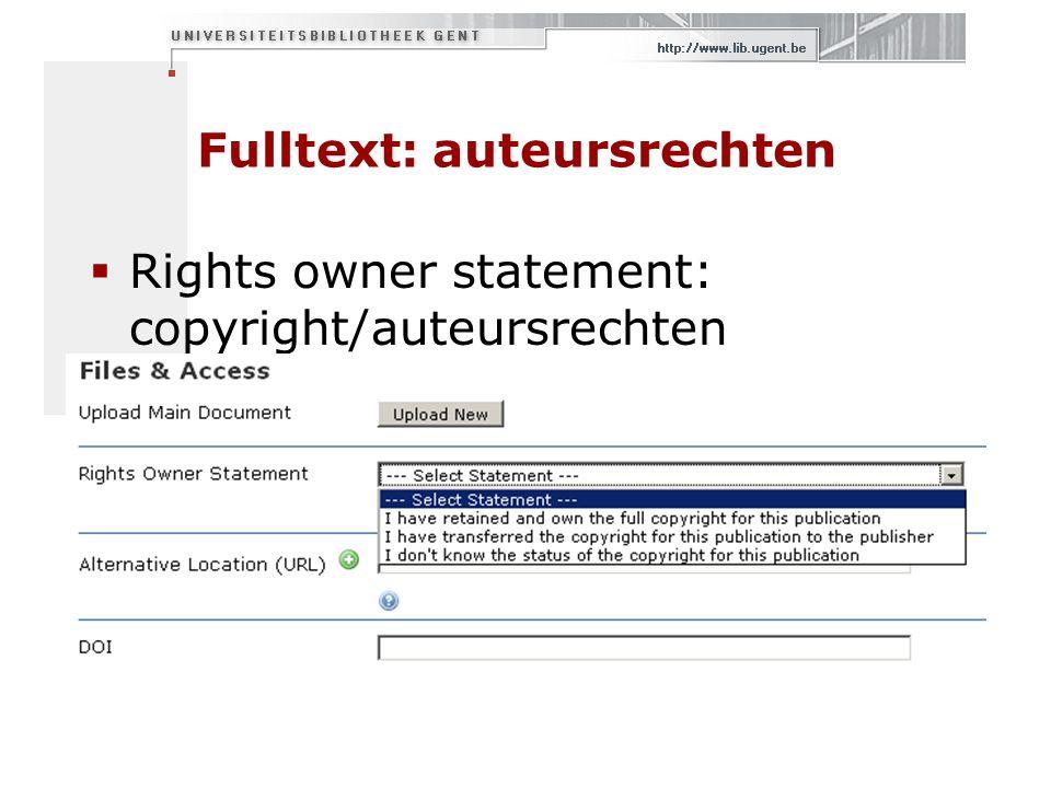 Fulltext: auteursrechten  Rights owner statement: copyright/auteursrechten
