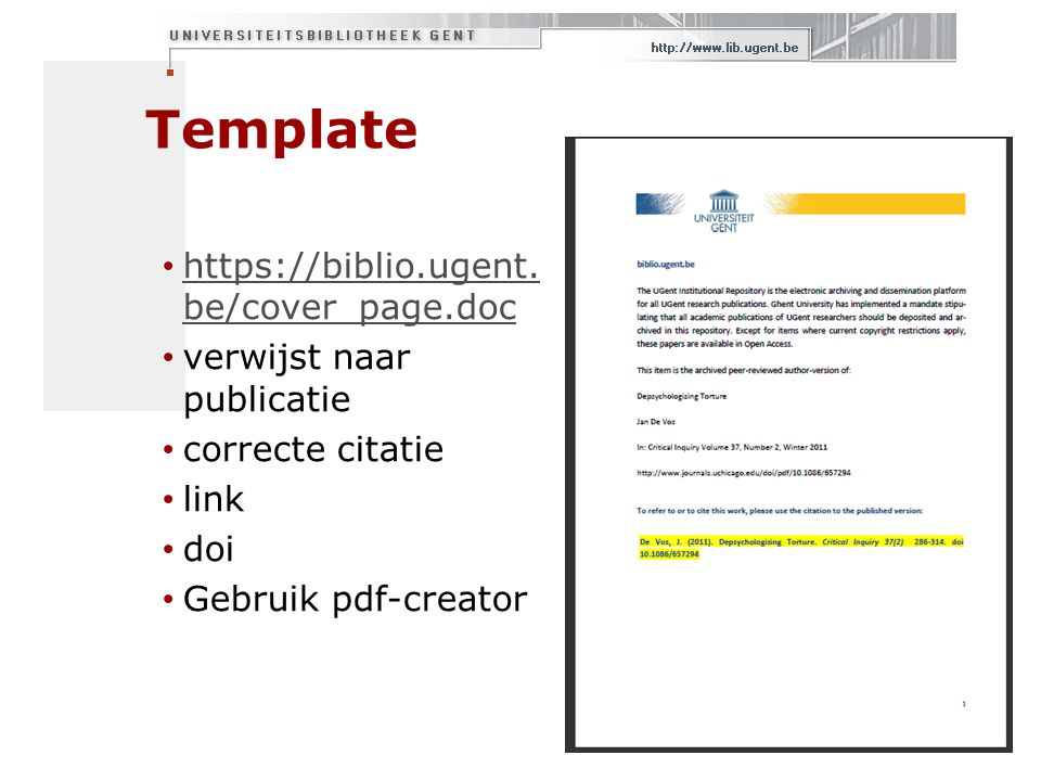 Template https://biblio.ugent. be/cover_page.doc https://biblio.ugent. be/cover_page.doc verwijst naar publicatie correcte citatie link doi Gebruik pd