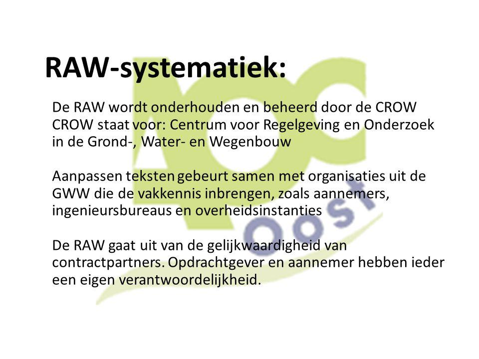 RAW-systematiek: De RAW wordt onderhouden en beheerd door de CROW CROW staat voor: Centrum voor Regelgeving en Onderzoek in de Grond-, Water- en Wegen