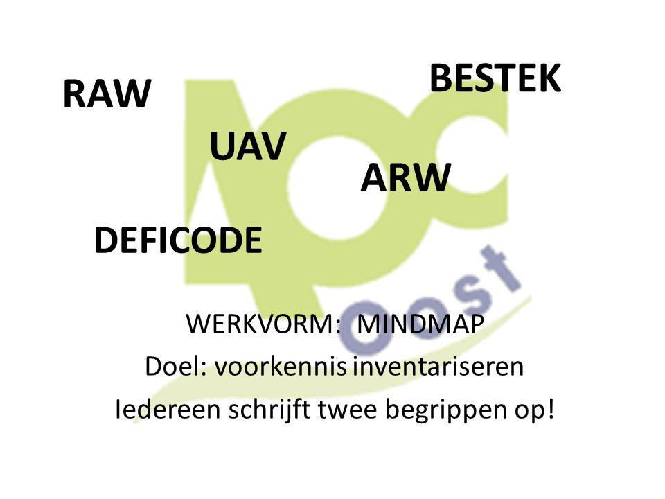 RAW WERKVORM: MINDMAP Doel: voorkennis inventariseren Iedereen schrijft twee begrippen op! BESTEK UAV DEFICODE ARW
