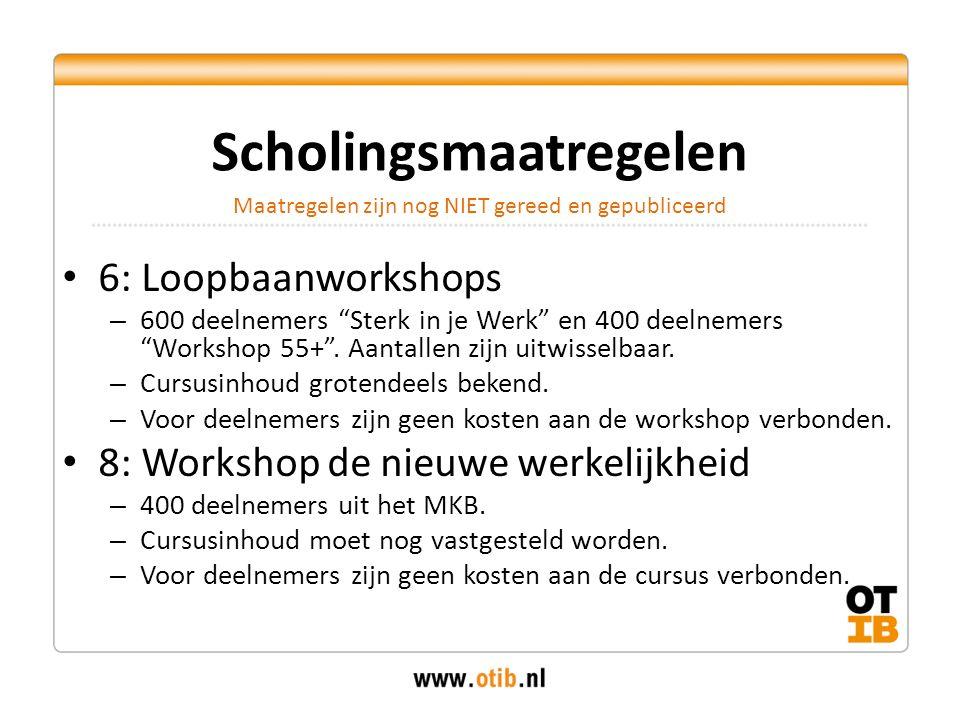 """6: Loopbaanworkshops – 600 deelnemers """"Sterk in je Werk"""" en 400 deelnemers """"Workshop 55+"""". Aantallen zijn uitwisselbaar. – Cursusinhoud grotendeels be"""