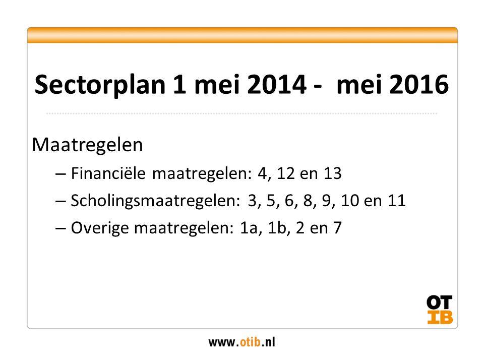 Maatregelen – Financiële maatregelen: 4, 12 en 13 – Scholingsmaatregelen: 3, 5, 6, 8, 9, 10 en 11 – Overige maatregelen: 1a, 1b, 2 en 7 Sectorplan 1 mei 2014 - mei 2016