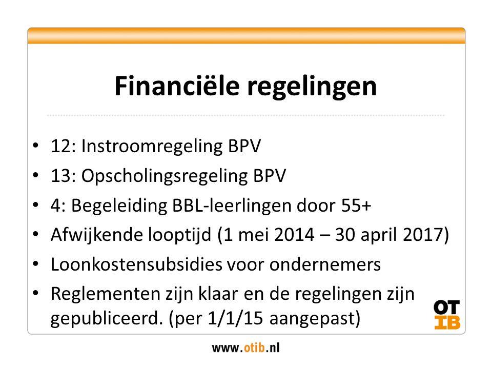 12: Instroomregeling BPV 13: Opscholingsregeling BPV 4: Begeleiding BBL-leerlingen door 55+ Afwijkende looptijd (1 mei 2014 – 30 april 2017) Loonkostensubsidies voor ondernemers Reglementen zijn klaar en de regelingen zijn gepubliceerd.