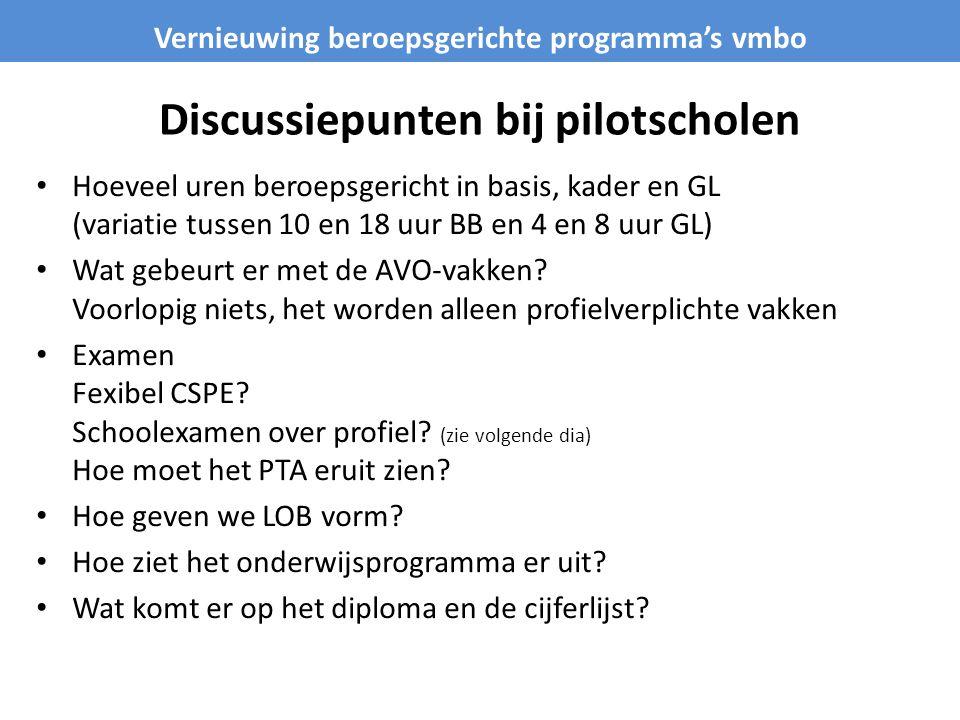 Discussiepunten bij pilotscholen Hoeveel uren beroepsgericht in basis, kader en GL (variatie tussen 10 en 18 uur BB en 4 en 8 uur GL) Wat gebeurt er met de AVO-vakken.