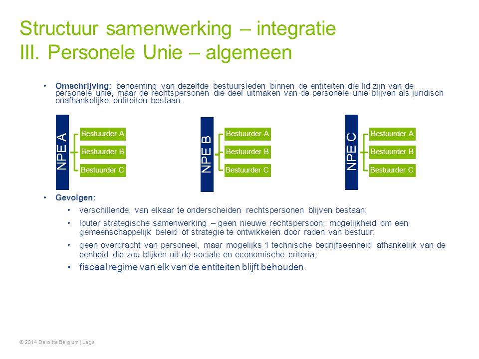 Structuur samenwerking – integratie III. Personele Unie – algemeen Omschrijving: benoeming van dezelfde bestuursleden binnen de entiteiten die lid zij