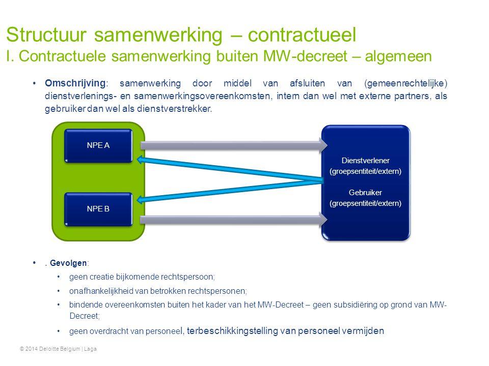 Omschrijving: samenwerking door middel van afsluiten van (gemeenrechtelijke) dienstverlenings- en samenwerkingsovereenkomsten, intern dan wel met exte
