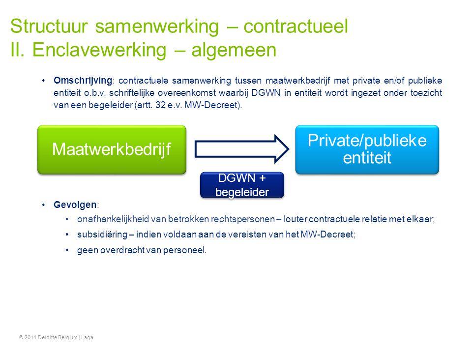 Structuur samenwerking – contractueel II. Enclavewerking – algemeen Omschrijving: contractuele samenwerking tussen maatwerkbedrijf met private en/of p