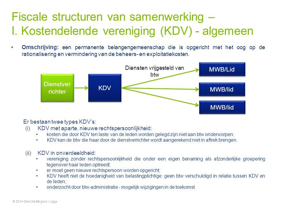 Fiscale structuren van samenwerking – I. Kostendelende vereniging (KDV) - algemeen Omschrijving: een permanente belangengemeenschap die is opgericht m