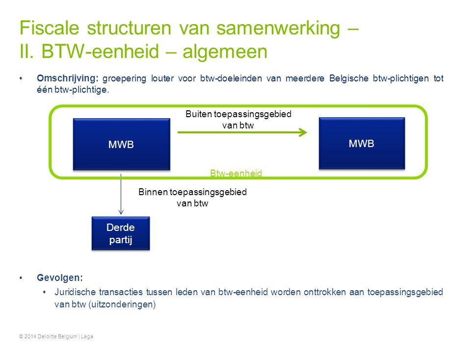 Fiscale structuren van samenwerking – II. BTW-eenheid – algemeen © 2014 Deloitte Belgium | Laga Omschrijving: groepering louter voor btw-doeleinden va