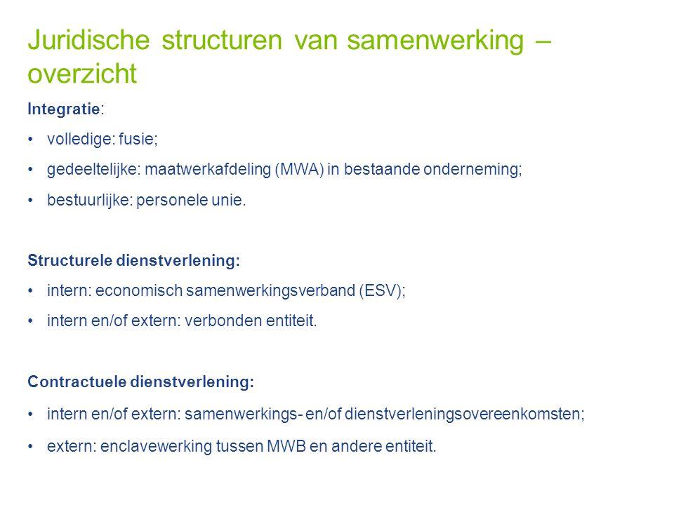 Juridische structuren van samenwerking – overzicht Integratie: volledige: fusie; gedeeltelijke: maatwerkafdeling (MWA) in bestaande onderneming; bestu