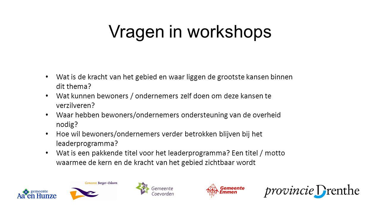 Vragen in workshops Wat is de kracht van het gebied en waar liggen de grootste kansen binnen dit thema? Wat kunnen bewoners / ondernemers zelf doen om