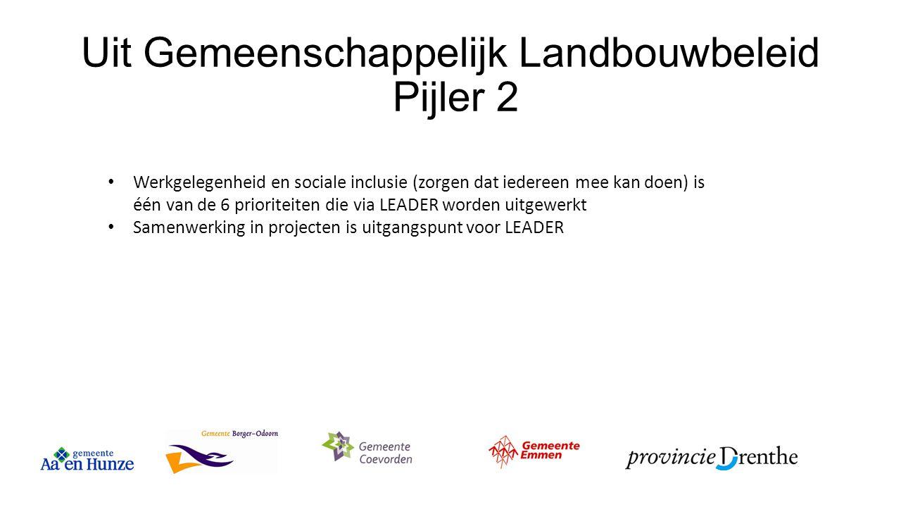 Uit Gemeenschappelijk Landbouwbeleid Pijler 2 Werkgelegenheid en sociale inclusie (zorgen dat iedereen mee kan doen) is één van de 6 prioriteiten die