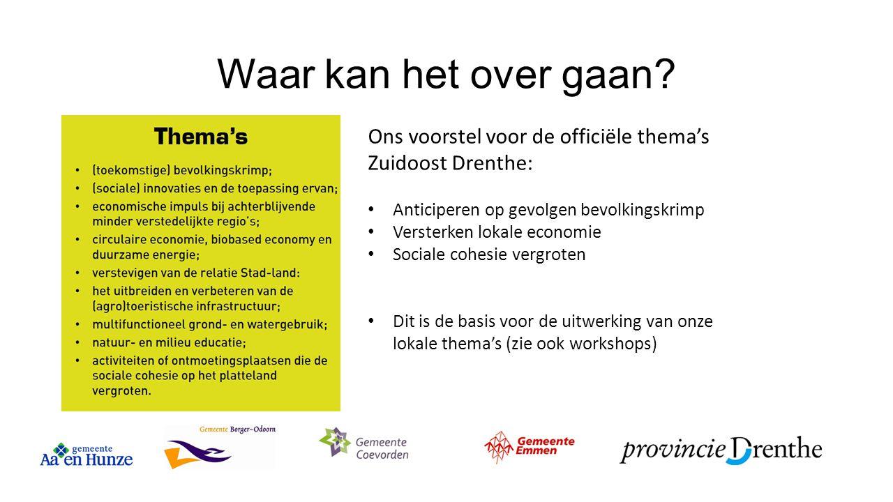 Waar kan het over gaan? Ons voorstel voor de officiële thema's Zuidoost Drenthe: Anticiperen op gevolgen bevolkingskrimp Versterken lokale economie So