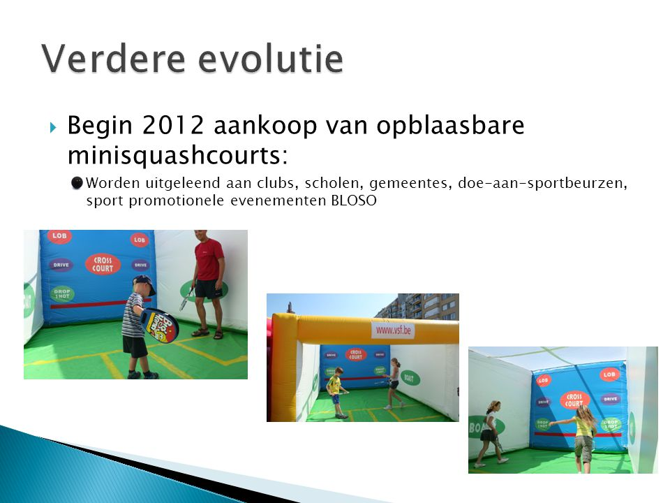  Begin 2012 aankoop van opblaasbare minisquashcourts: Worden uitgeleend aan clubs, scholen, gemeentes, doe-aan-sportbeurzen, sport promotionele evenementen BLOSO