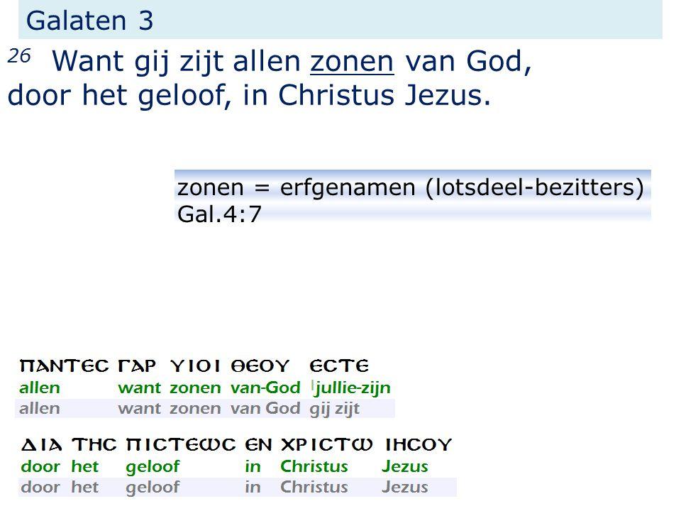 Galaten 3 26 Want gij zijt allen zonen van God, door het geloof, in Christus Jezus.