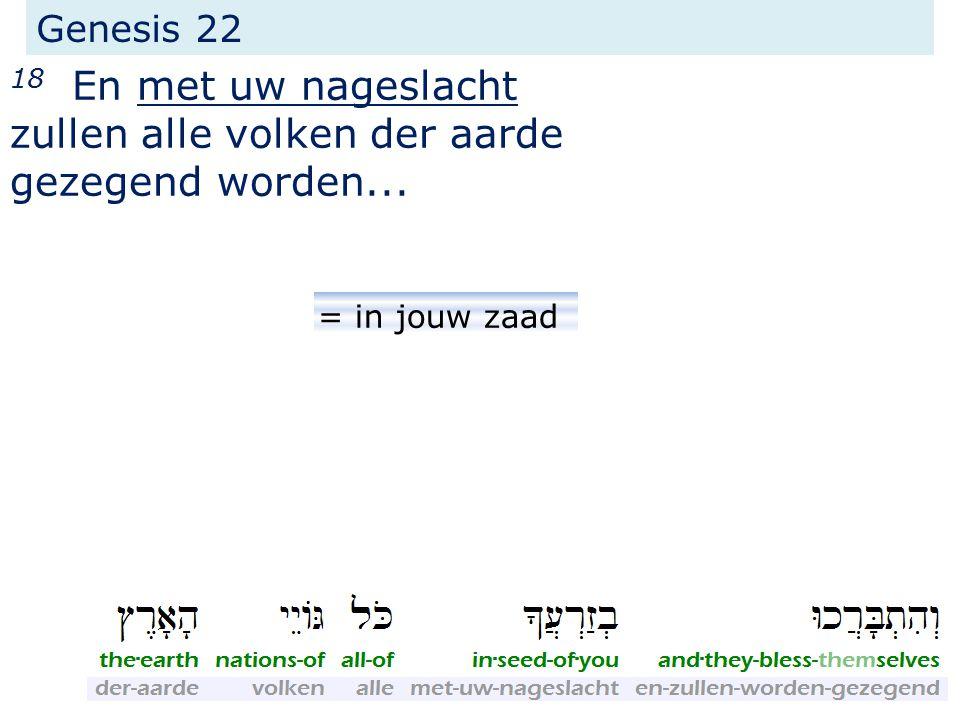 Genesis 22 18 En met uw nageslacht zullen alle volken der aarde gezegend worden... = in jouw zaad