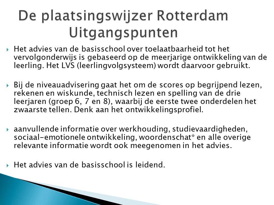 De plaatsingswijzer Rotterdam Uitgangspunten  Het advies van de basisschool over toelaatbaarheid tot het vervolgonderwijs is gebaseerd op de meerjari