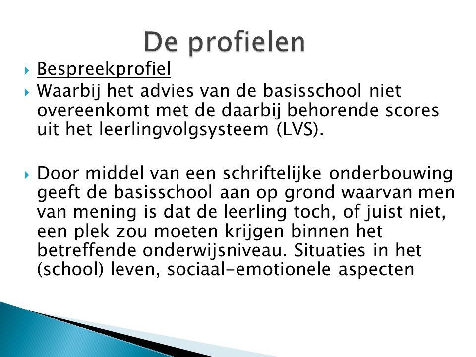  Bespreekprofiel  Waarbij het advies van de basisschool niet overeenkomt met de daarbij behorende scores uit het leerlingvolgsysteem (LVS).  Door m