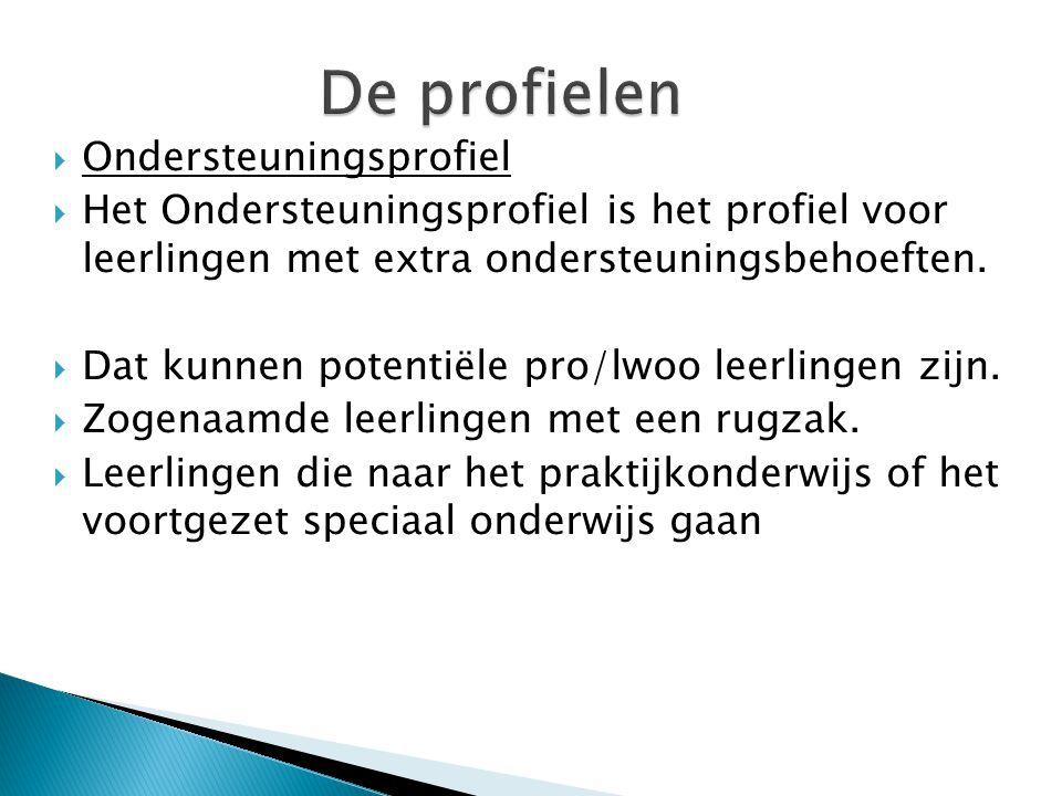  Ondersteuningsprofiel  Het Ondersteuningsprofiel is het profiel voor leerlingen met extra ondersteuningsbehoeften.  Dat kunnen potentiële pro/lwoo