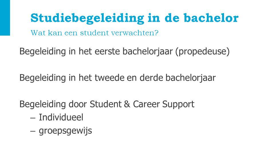 Studiebegeleiding in de bachelor Begeleiding in het eerste bachelorjaar (propedeuse) Begeleiding in het tweede en derde bachelorjaar Begeleiding door