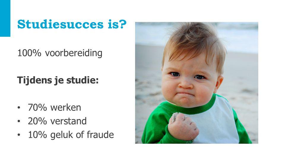 Studiesucces is? 100% voorbereiding Tijdens je studie: 70% werken 20% verstand 10% geluk of fraude