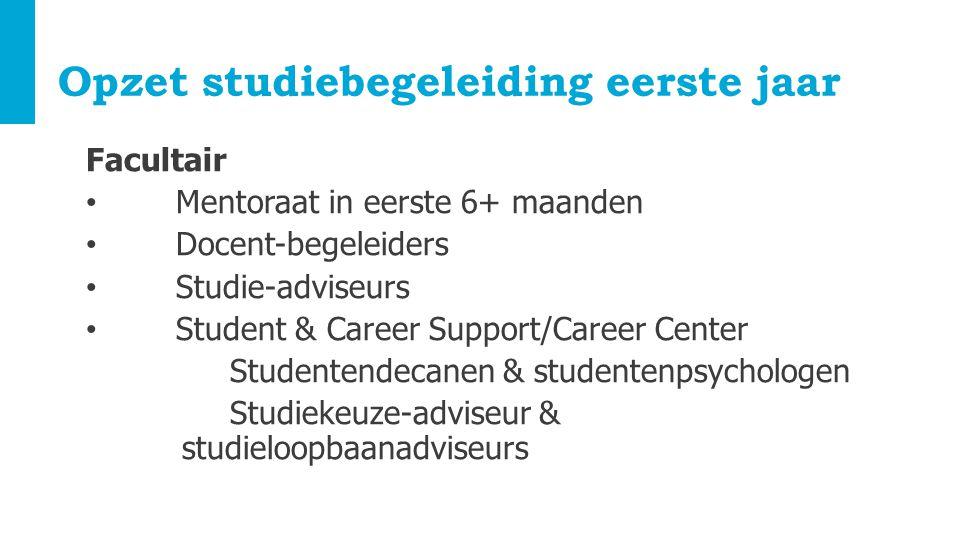 Opzet studiebegeleiding eerste jaar Facultair Mentoraat in eerste 6+ maanden Docent-begeleiders Studie-adviseurs Student & Career Support/Career Cente