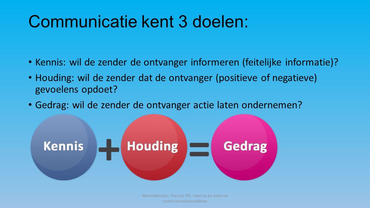 Communicatie kent 3 doelen: Kennis: wil de zender de ontvanger informeren (feitelijke informatie).