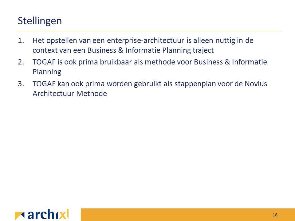 Stellingen 1.Het opstellen van een enterprise-architectuur is alleen nuttig in de context van een Business & Informatie Planning traject 2.TOGAF is oo