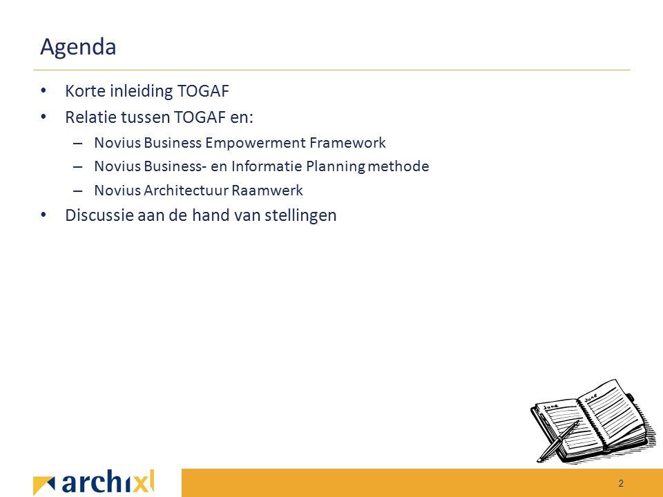 Agenda Korte inleiding TOGAF Relatie tussen TOGAF en: – Novius Business Empowerment Framework – Novius Business- en Informatie Planning methode – Novi